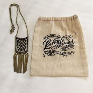Lucky Brand Seed Bead Necklace and storage bag